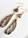 Smokey Topaz Agate Slice Earrings