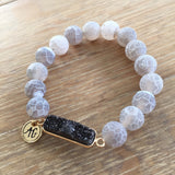 Gray Druzy Bar Stretch Bracelet - Unhinged Boutique