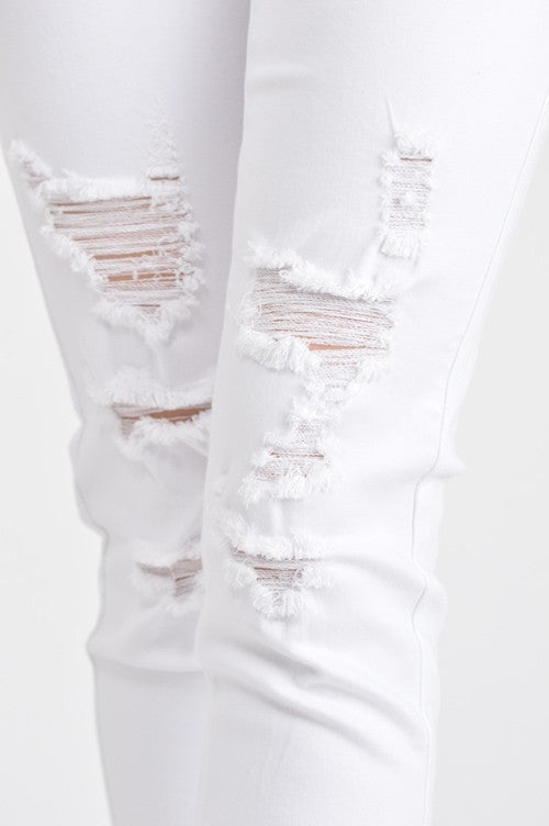 White Distressed Jeans/Denim - Annabelle Jeans - Unhinged Boutique.