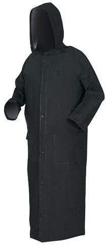 "River City .35mm PVC/Polyester 60"" Rider Coat with Detachable Hood and Corduroy Collar, Black"