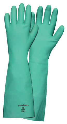 "Memphis Glove Nitri-Chem, 18"" Unlined unlined nitrile, 22 mil with textured grip"