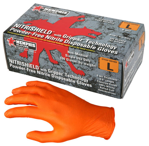 Memphis Glove NitriShield® with Grippaz™ Technology, Orange Nitrile, 6 mil, 9.5 inch