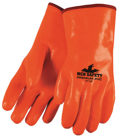 Memphis Glove 6712F - Premium Foam Lined PVC, Smooth Finish, Fluorescent Orange