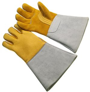 Top grain gold elk skin welding glove,insulated back, unlined palm (XL)