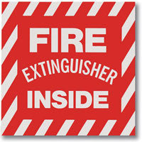 "Fire Extinguisher Inside 4""x 4"" Decal"
