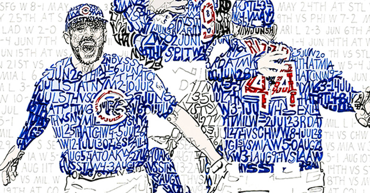 2016 Chicago Cubs Road to the World Series Word Art Print