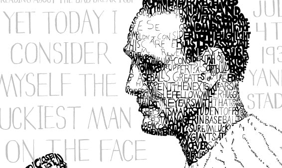 Sports Illustrated: Word Art of Lou Gehrig's 'Luckiest Man' Speech Raising Funds for ALS Charities
