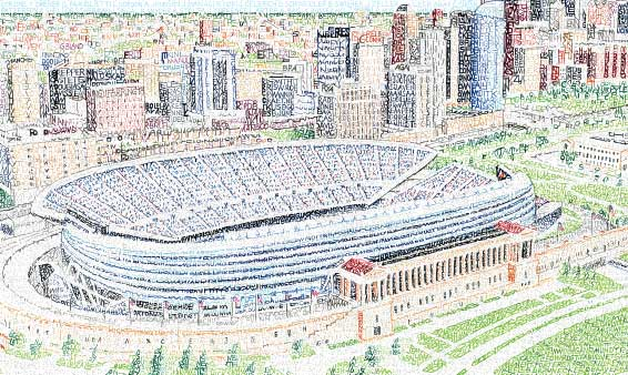 CBS Chicago: Artist Recreates Soldier Field Using Over 1,600 Bears Player's Names
