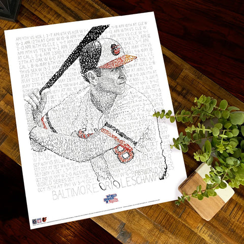Word art print of Baltimore Orioles player Cal Ripken, handwritten with every game from the 1983 championship season.