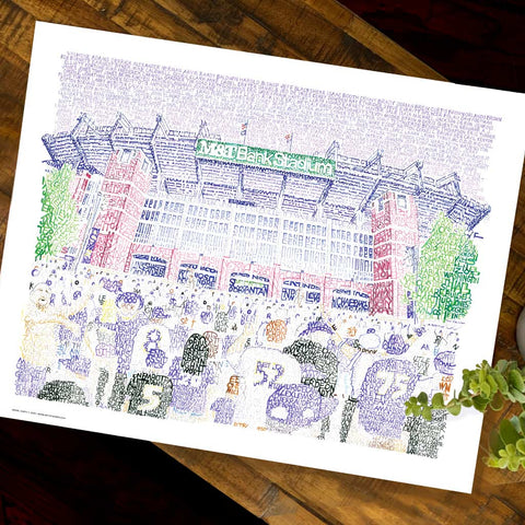 Word art print of M&T Bank Stadium in Baltimore, handwritten with the name of every Baltimore Ravens player through 2019.