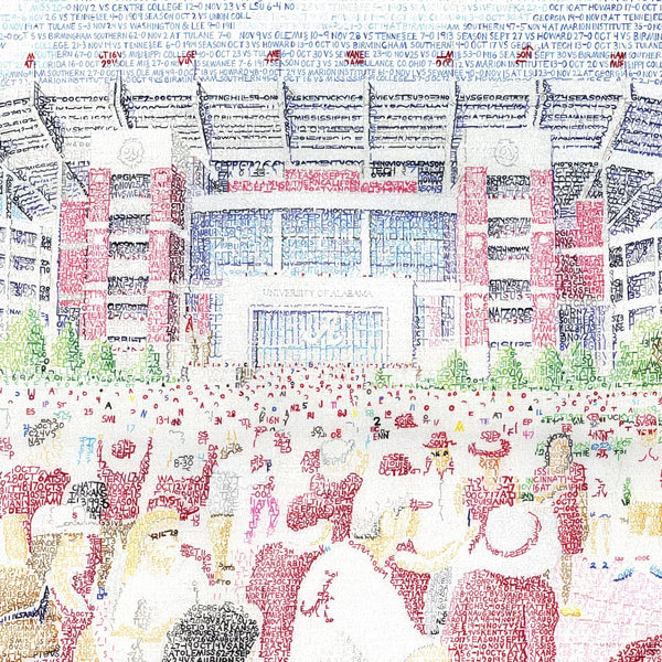 View of fans at main gate of Bryant-Denny Stadium at University of Alabama, handwritten with Crimson Tide record.