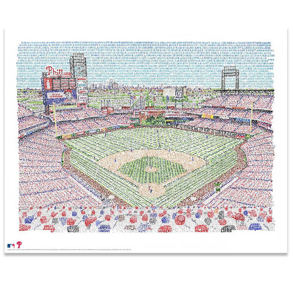 Word art of Citizens Bank Park in South Philly, handwritten with Phillies all-time roster, is a great gift for Philadelphians.