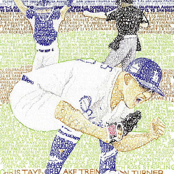 L.A. Dodgers pitcher, No. 7, Julio Urias in Dodgers art print made of handwritten words of stats from 2020 World Series season.