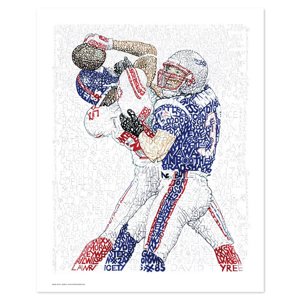"""Football wall art depicts the """"helmet catch"""" from Super Bowl XLII, handwritten with New York Giants 2007 season stats."""