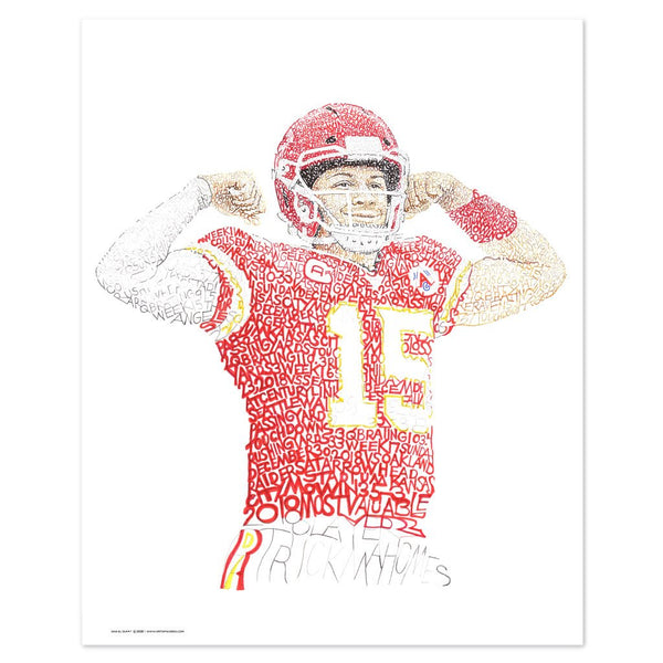Unframed word art portrait of Patrick Mahomes, handwritten with his stats and Kansas City Chief scores from 2018.