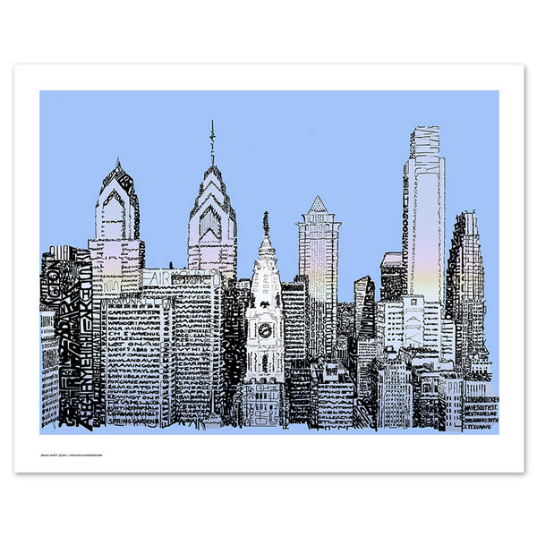 Word art print of Philadelphia skyline, handwritten with streets and landmarks, foregrounding City Hall in Center City Philly.