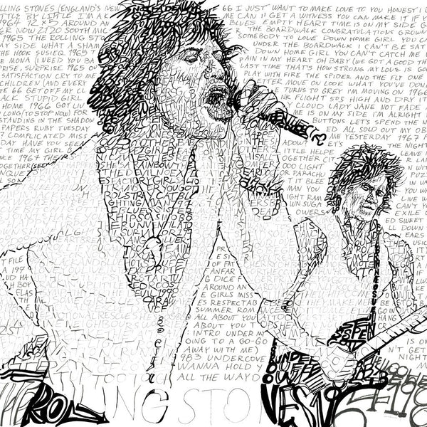 Portrait of Mick Jagger singing and Keith Richards playing guitar, handwritten with titles of Rolling Stone songs.