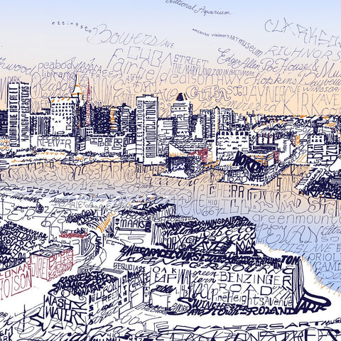 Word art of the Inner Harbor in Baltimore, handwritten with names of its streets, neighborhoods, and attractions.