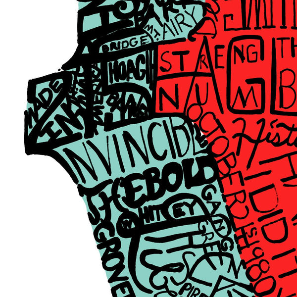 Detail of Dan Duffy's Philadelphia LOVE statue word print shows how handwritten words, colored in red and blue, form the image.