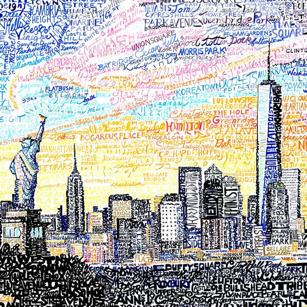 View of New York City skyline at sunrise, handwritten with names of streets, neighborhoods, and landmarks.