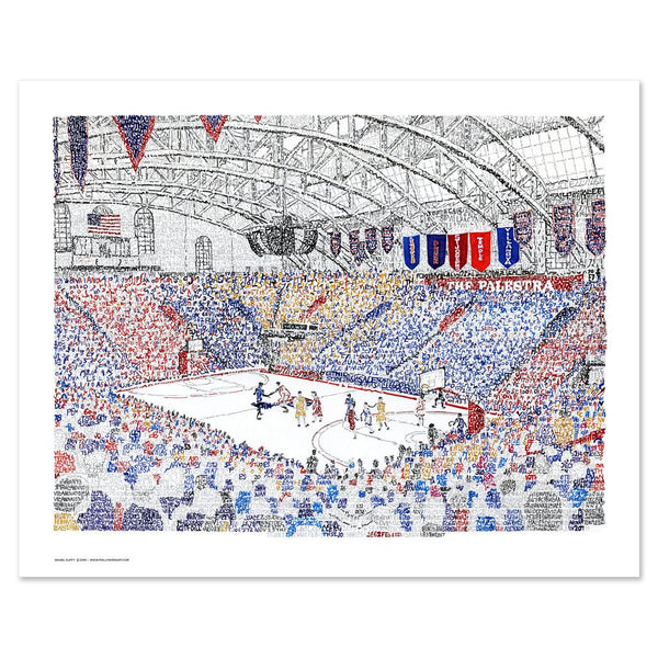 Unframed word art print depicting the Palestra, handwritten with dates, teams, and scores from five decades' of Big 5 games.