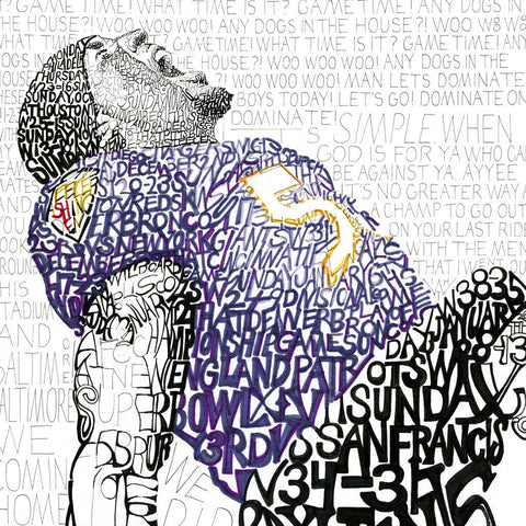 Word art of Baltimore Ravens linebacker Ray Lewis, handwritten with every game of the team's 2012 championship season.