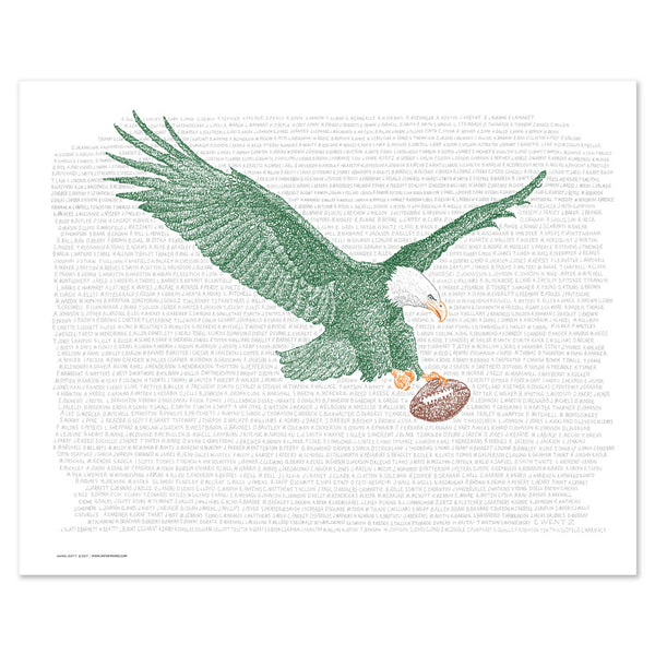 Word art print of eagle in flight clutching football in left talon, handwritten with Philadelphia Eagles all-time roster.