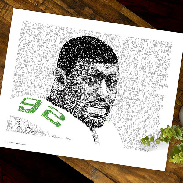 Football wall art is portrait of NFL defensive lineman Reggie White, handwritten with stats of his 198 sacks.