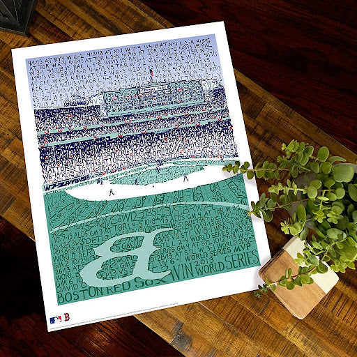 Hand-drawn image of Fenway Park with the Boston Red Sox season stats for 2013 drawn by Dan Duffy.