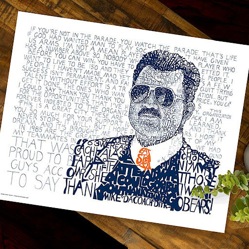 A hand-drawn image of Chicago Bears' coach Mike Ditka with quotations by artist Dan Duffy.