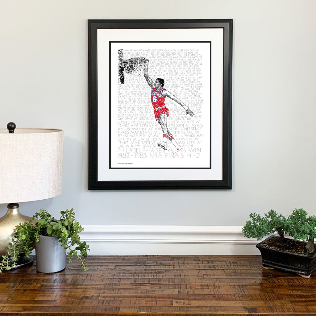 Philadelphia 76ers Julius Erving Gift Framed