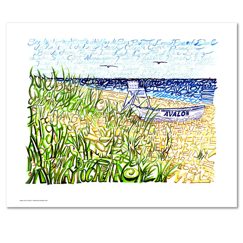 Avalon New Jersey Word Art Poster