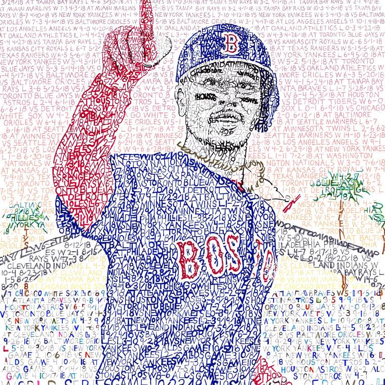 Boston Red Sox Mookie Betts Word Art by Daniel Duffy