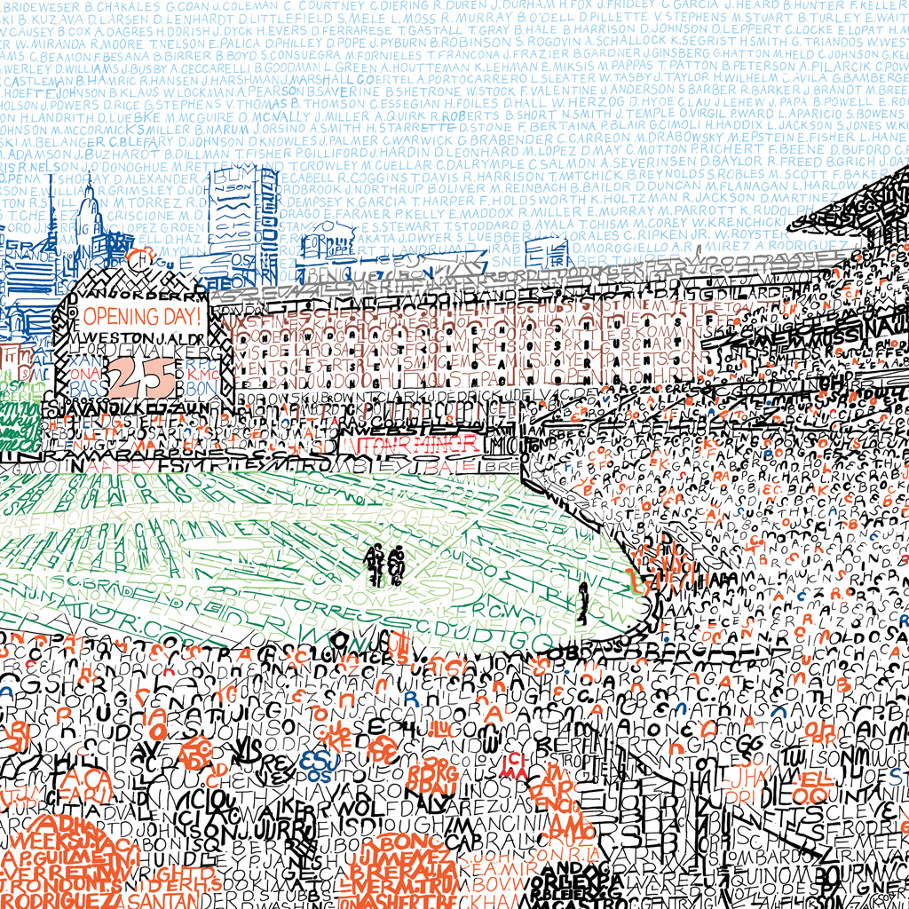 Camden Yards Word Art Poster Baltimore Orioles Gifts