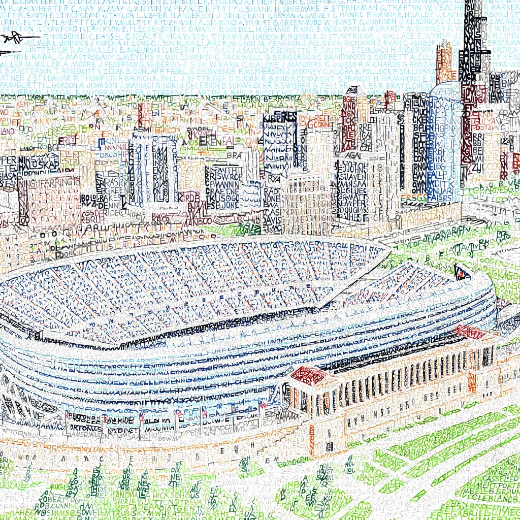 Chicago Bears Soldier Field Word Art by Daniel Duffy