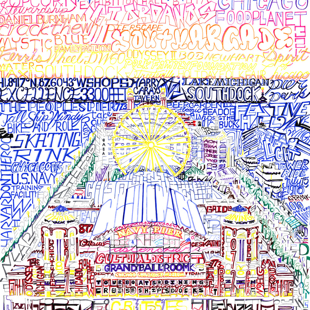 Chicago Navy Pier Word Art by Dan Duffy