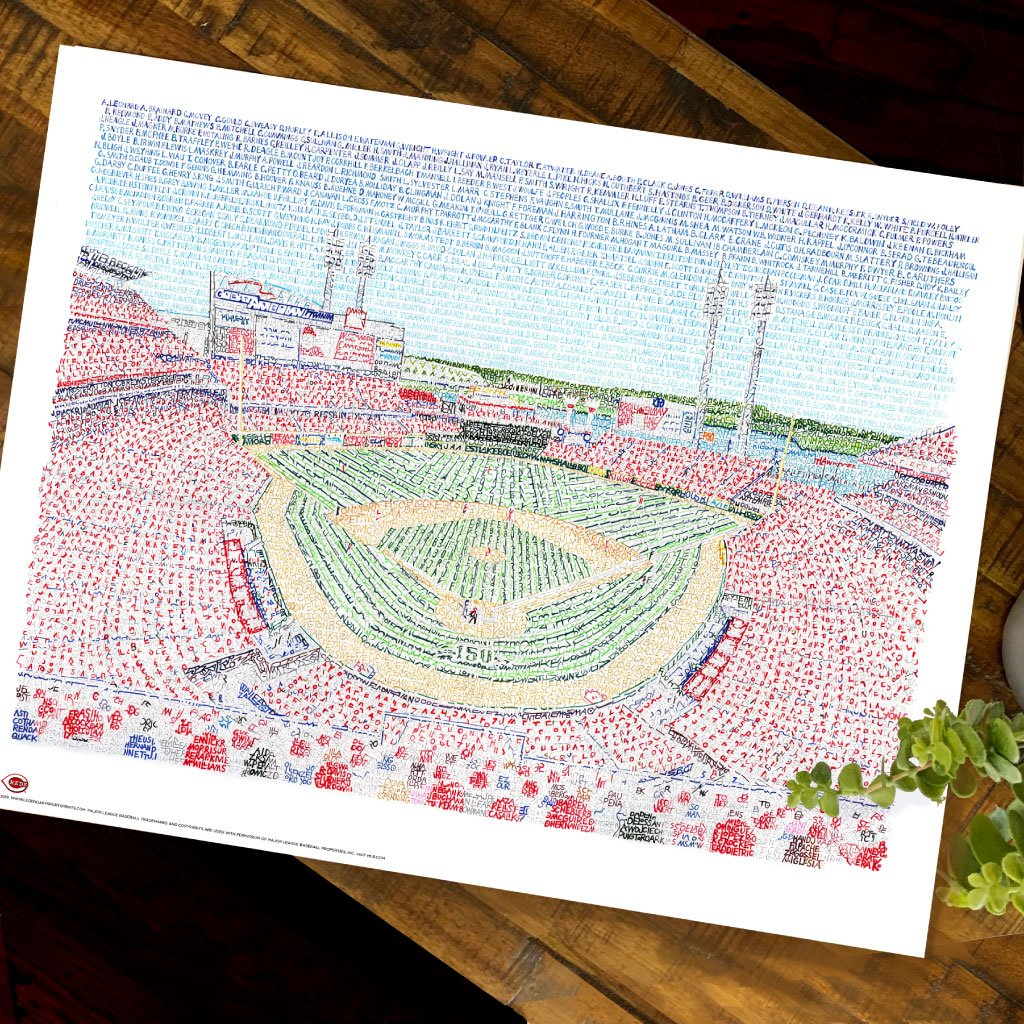 Cincinnati Reds Great American Ballpark Word Art by Daniel Duffy