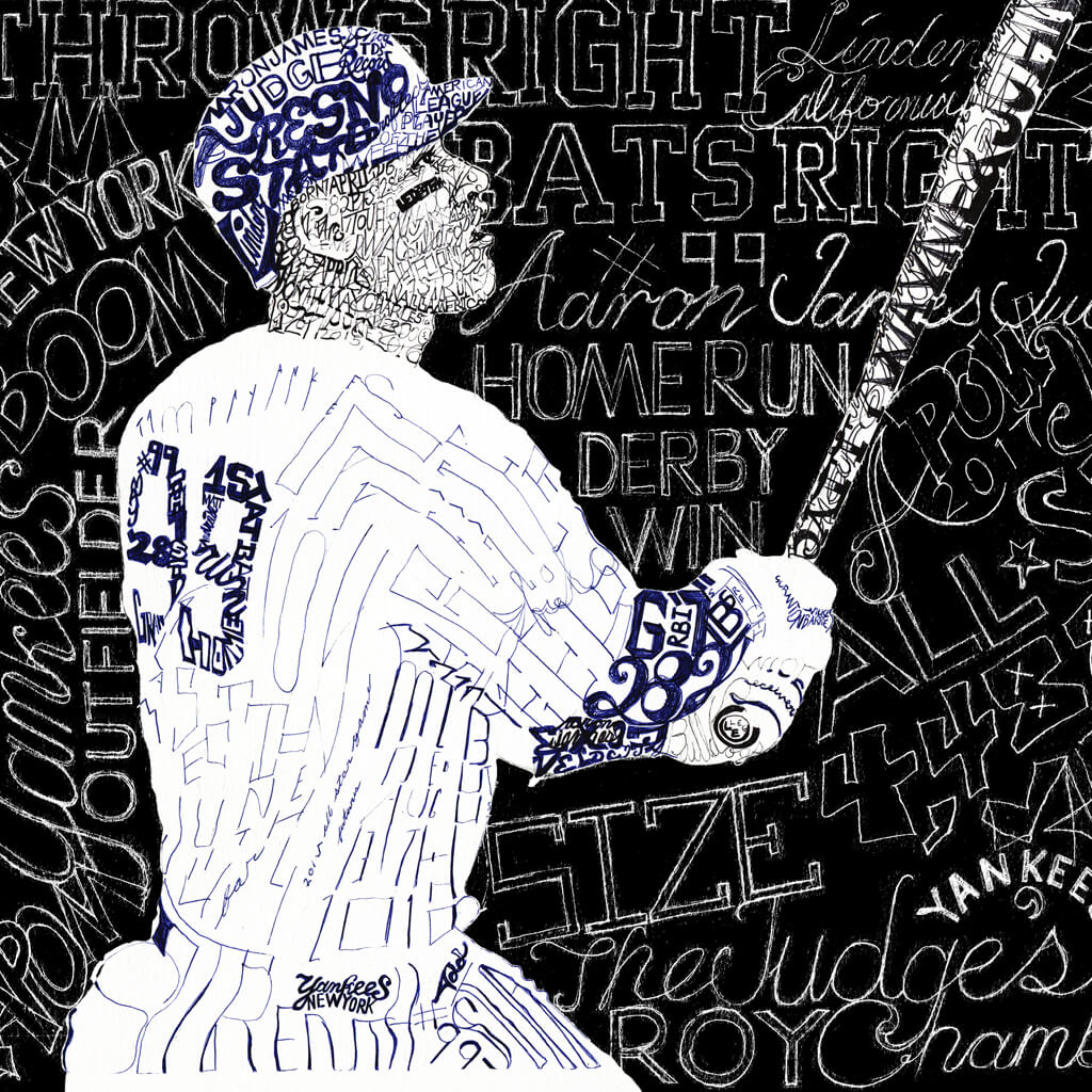 New York Yankees Aaron Judge Word Art by Daniel Duffy