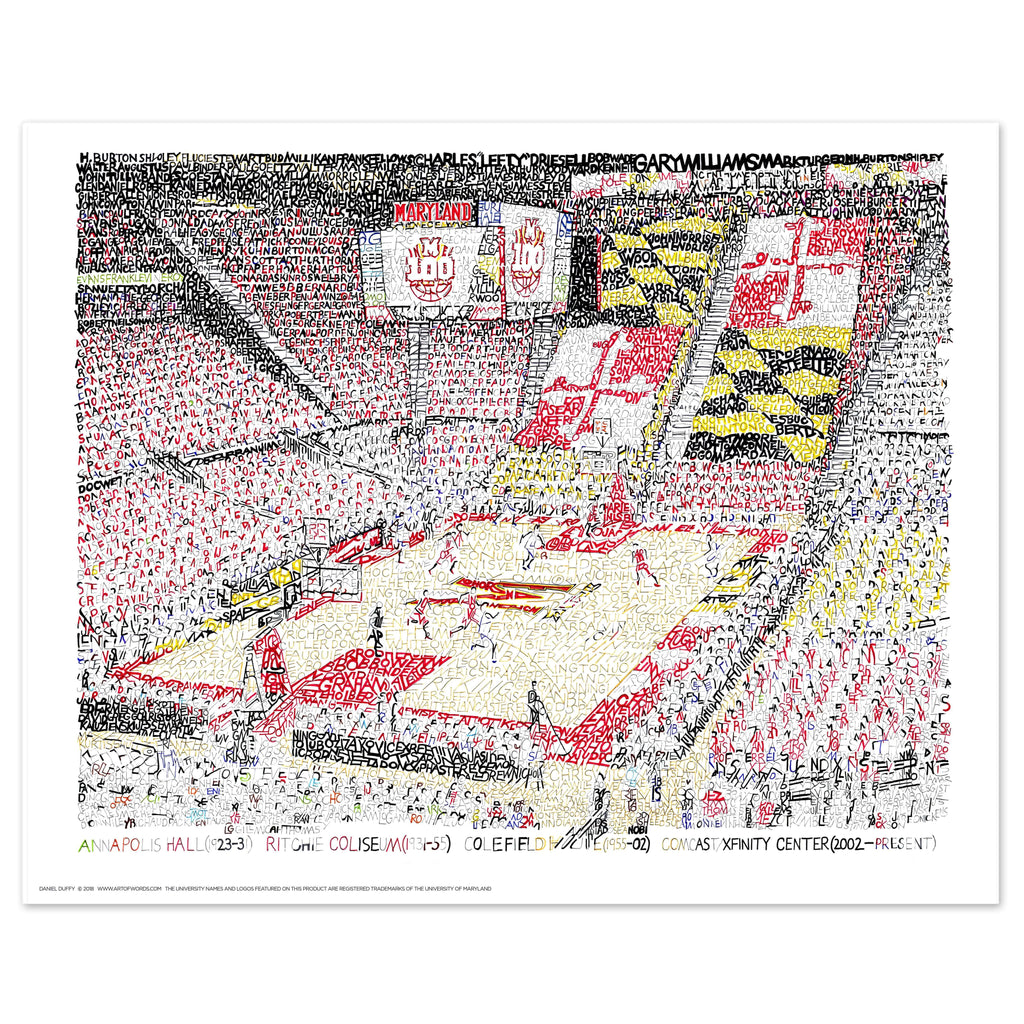 Maryland Basketball Xfinity Center Word Art by Daniel Duffy