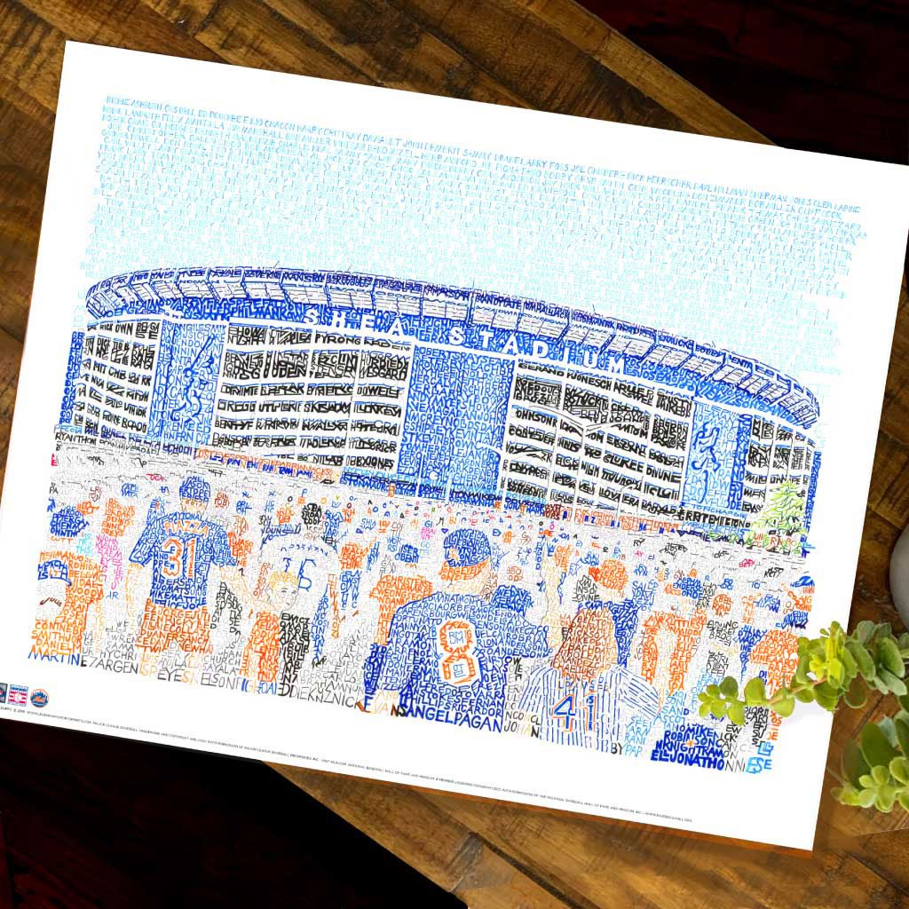 New York Mets Shea Stadium Word Art by Daniel Duffy