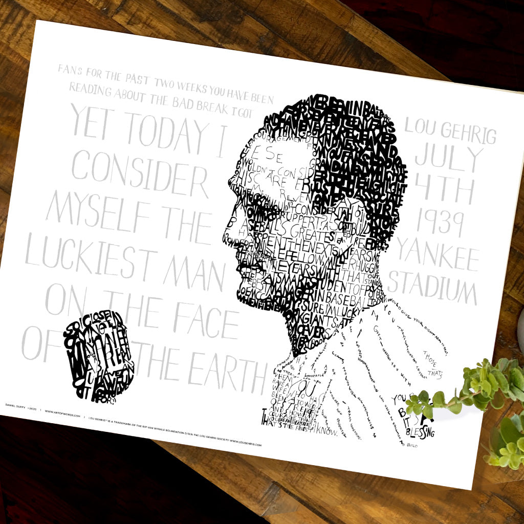 New York Yankees Lou Gehrig Word Art by Daniel Duffy