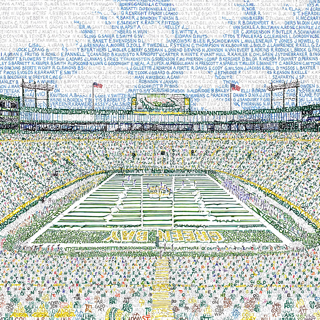 Green Bay Packers Lambeau Field Word Art by Daniel Duffy