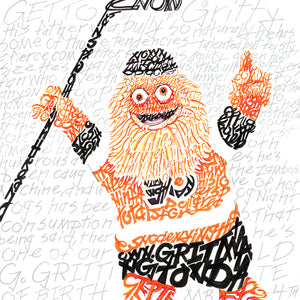 Philadelphia Flyers Gritty Word Art by Daniel Duffy