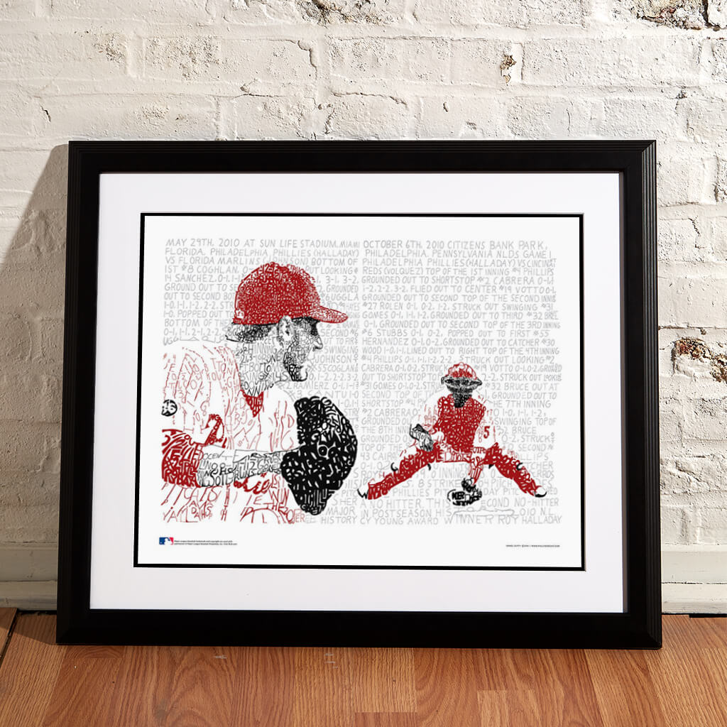 Roy Halladay Framed Print on Floor