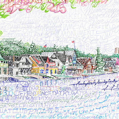 Boathouse Row Word Art by Dan Duffy