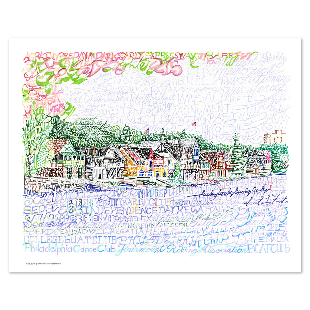 "Boathouse Row Word Art Print - 16"" x 20"""