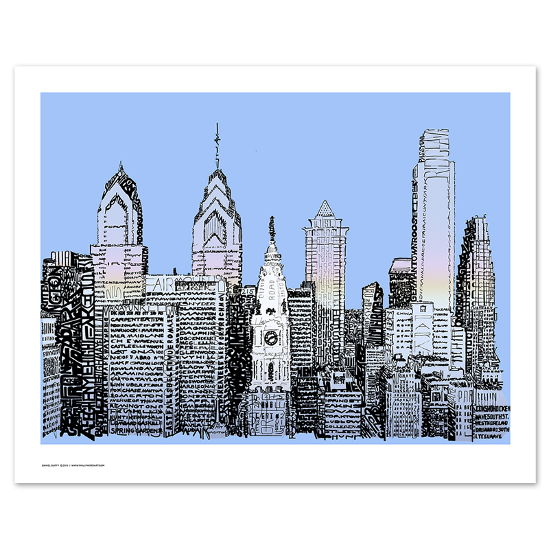Philadelphia Skyline Word Art Poster