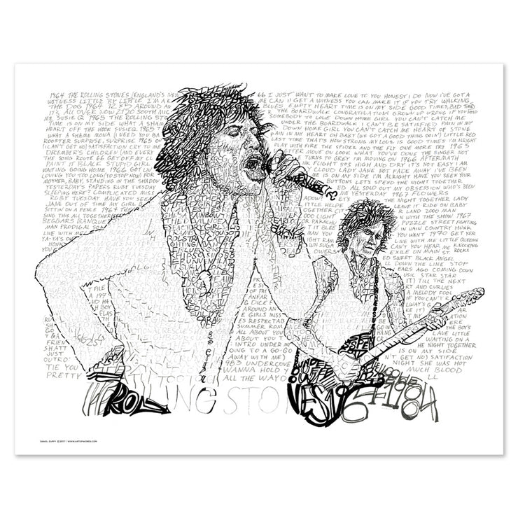 Rolling Stones Word Art Poster