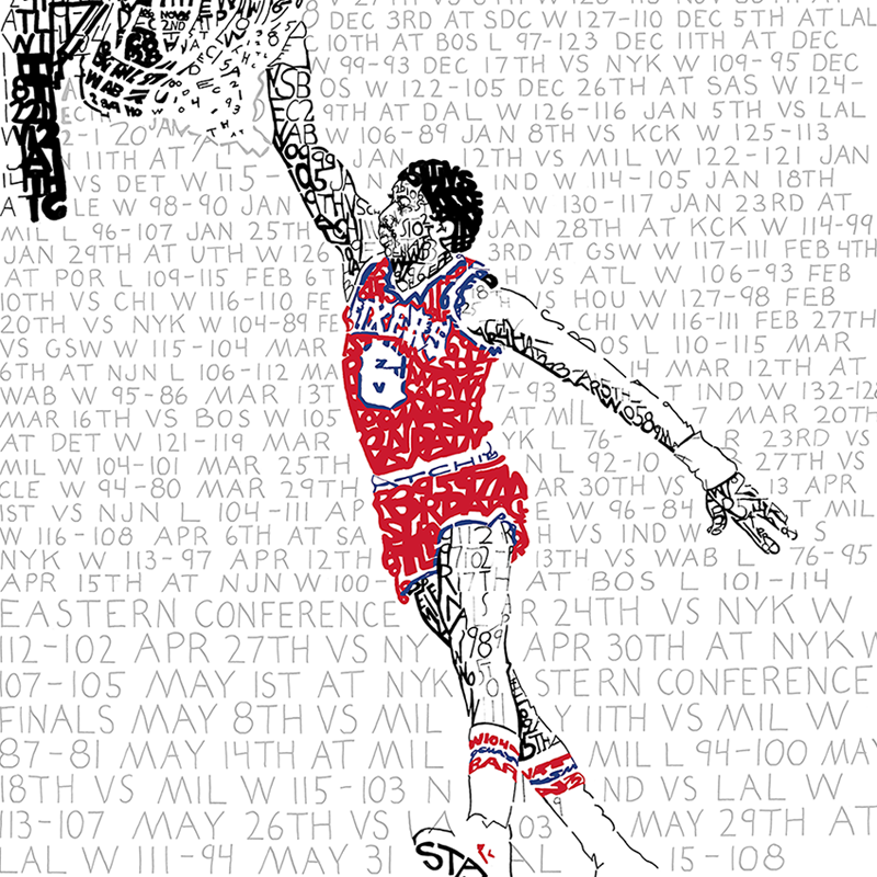 1983 Philadelphia 76ers Julius Erving Word Art Print