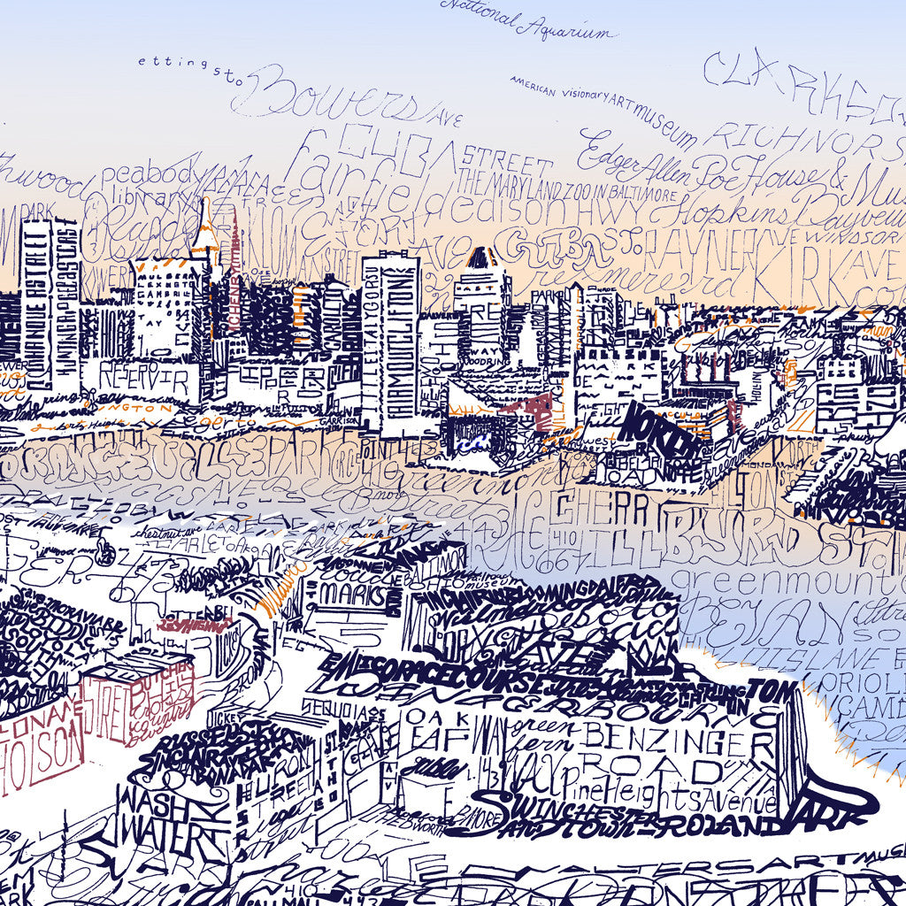 Baltimore skyline word art print art of words Calligraphy baltimore